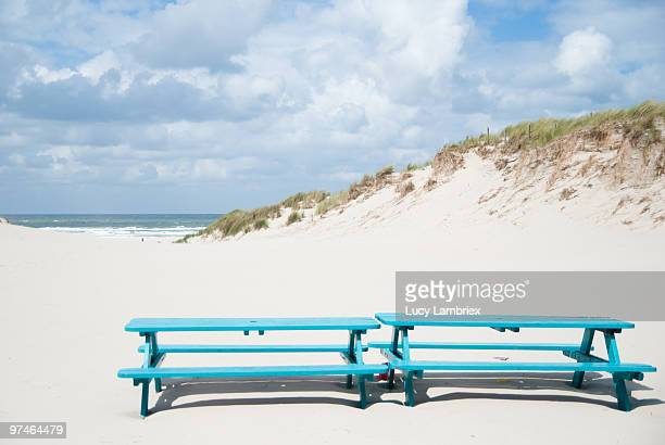 Two blue benches at the beach