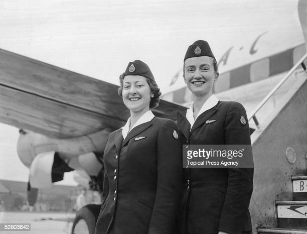 Two BOAC air hostesses D Barzilay and J M Henderson at London Airport 23rd January 1956 They are part of the crew of the BOAC Argonaut Atalanta which...