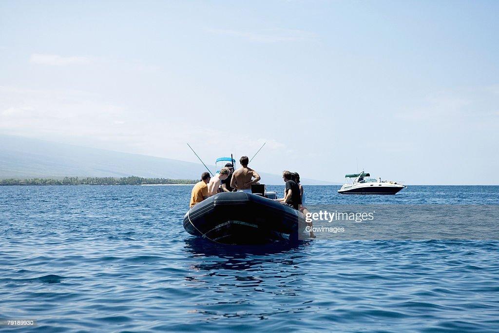 Two boats in the sea, Captain Cook's Monument, Kealakekua Bay, Kona Coast, Big Island, Hawaii islands, USA : Stock Photo
