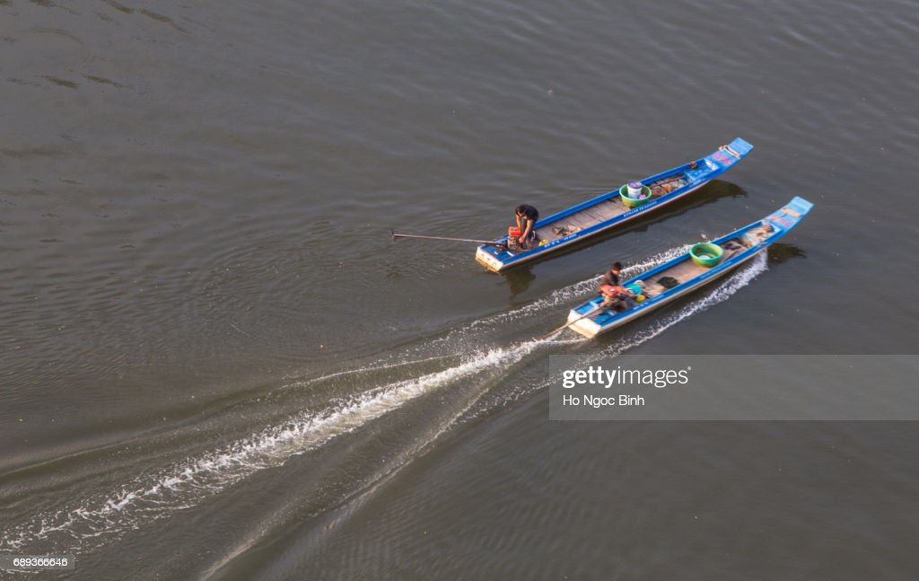 Two boats on the Saigon River : Stock Photo
