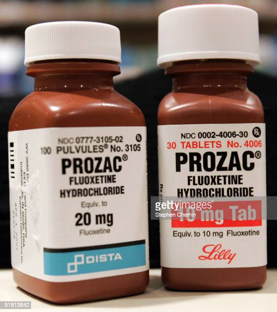 Two bottles of Prozac are seen on a pharmacy shelf January 4 2005 in New York City The British Medical Journal sent the USFood and Drug...