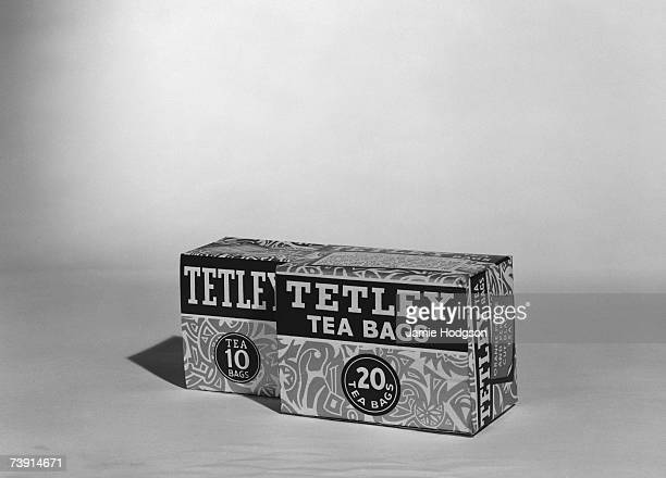 Two boxes of Tetley tea containing 10 and 20 teabags November 1965 The box on the right contains the orange pekoe variety