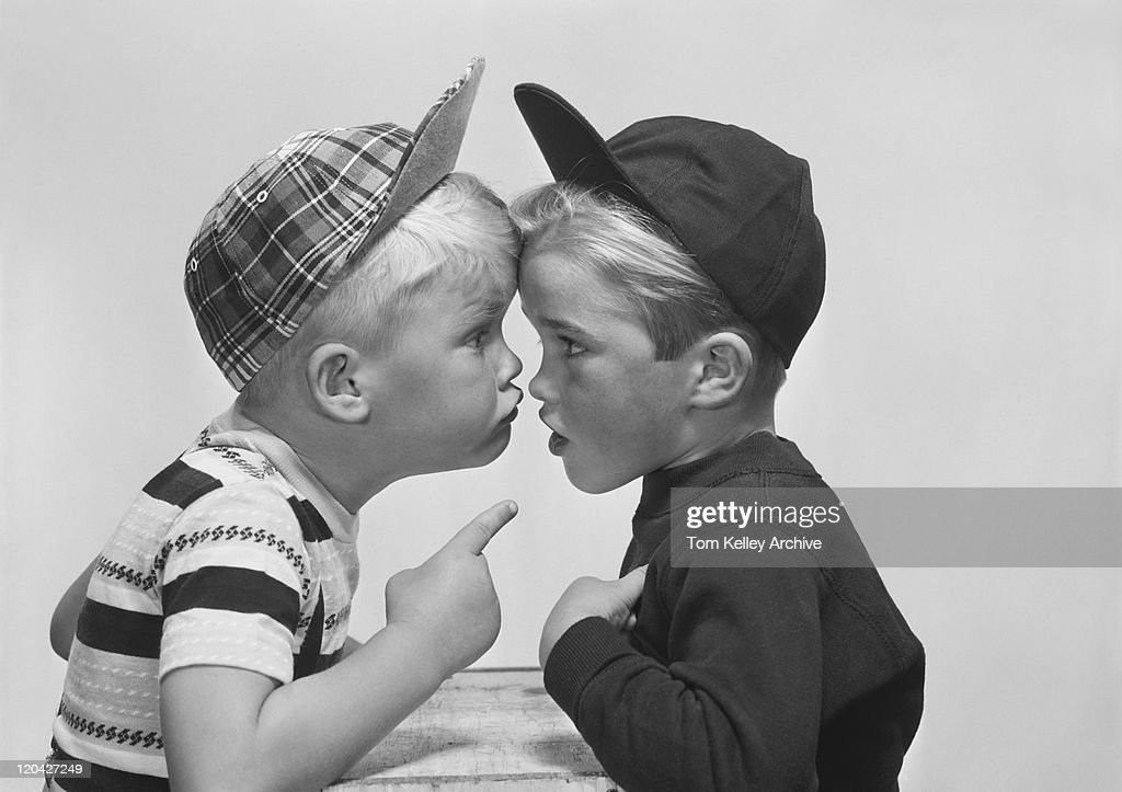 Two boy arguing, close-up : Stock Photo