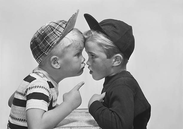Two boy arguing, close-up