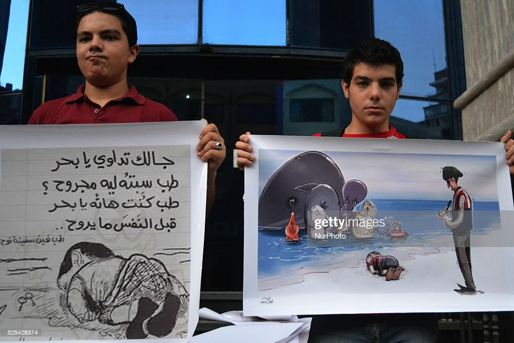 A protest in solidarity with Syrian refugees in Egypt : News Photo