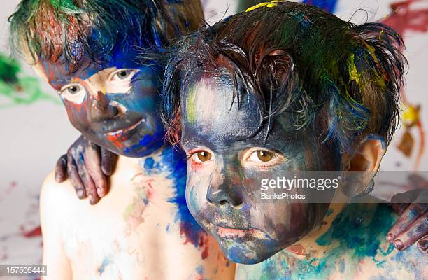 Two Boys Covered with Paint