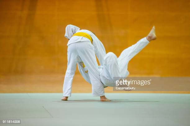 two boys during judo practicing - judo stock photos and pictures