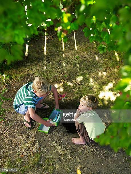 two boys in backyard burying pet bird - burying stock pictures, royalty-free photos & images