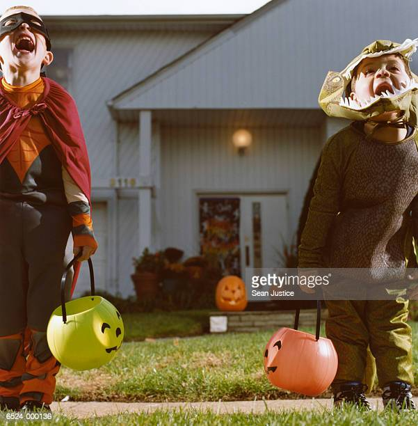 Two Boys in Costumes Shouting