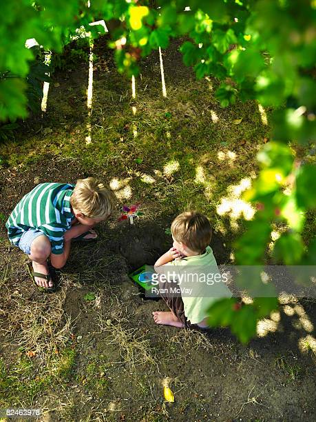 two boys in yard burying pet - burying stock pictures, royalty-free photos & images