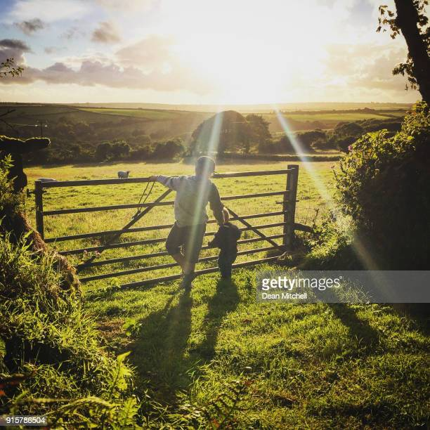 two boys look at the sunset in the english countryside - cornwall england stock pictures, royalty-free photos & images