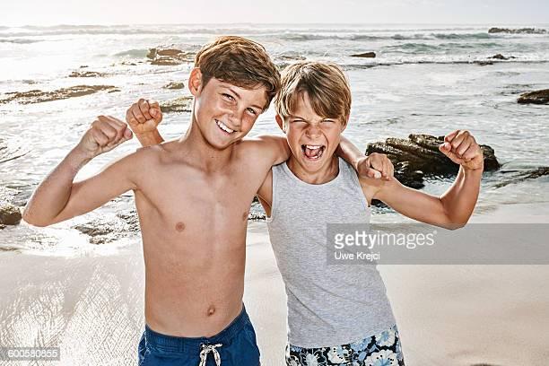 Two boys on beach, portrait