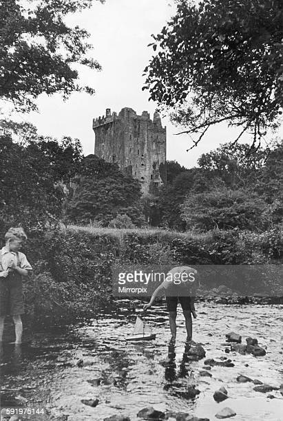 Two boys playing in the stream below Blarney Castle 24th September 1935