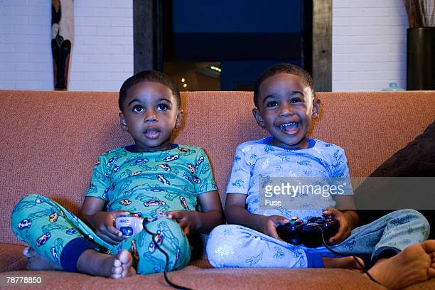 Two Boys Playing Video Games