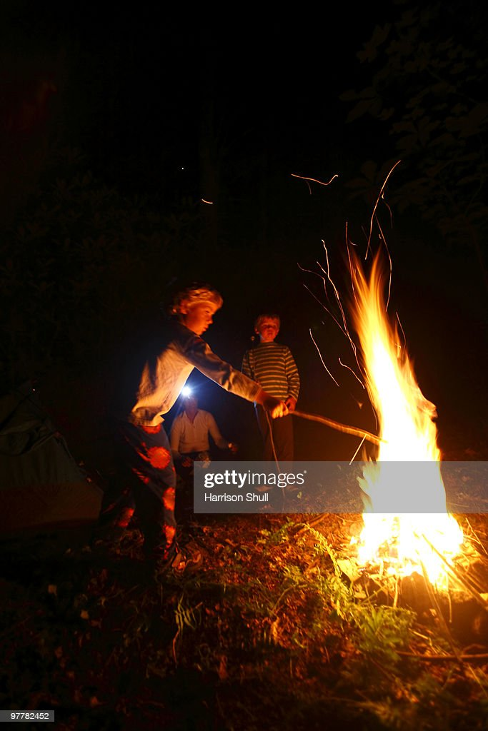 Two Boys Roast Marshmallows Over A Campfire Stock Photo