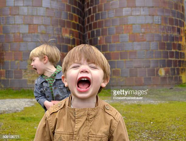 two boys shouting (2-3 years, 4-5 years) - 2 3 years stock pictures, royalty-free photos & images