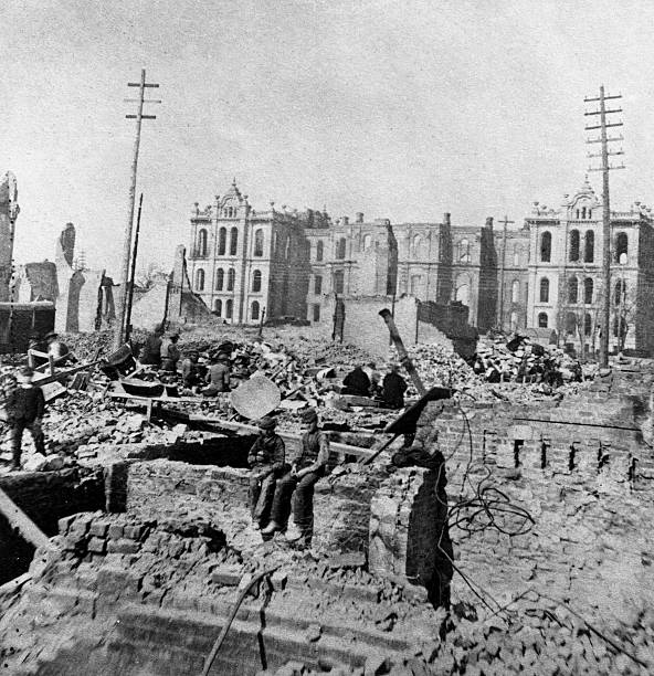 Cleanup At Clark And Madison Streets After Chicago Fire, IL, 1871. Wall Art