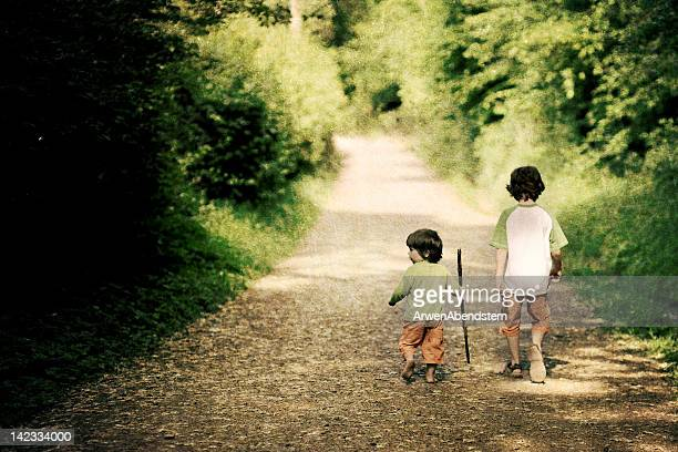 Two boys walking in forest path