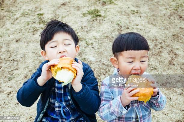 two boys who eat hamburgers - 兄弟 ストックフォトと画像