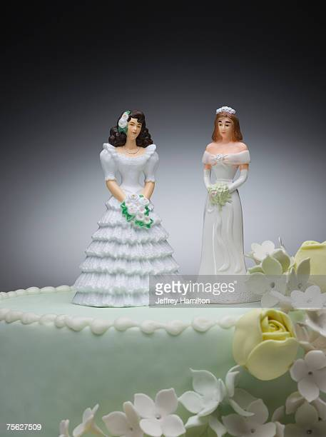 Two bride figurines on top of wedding cake