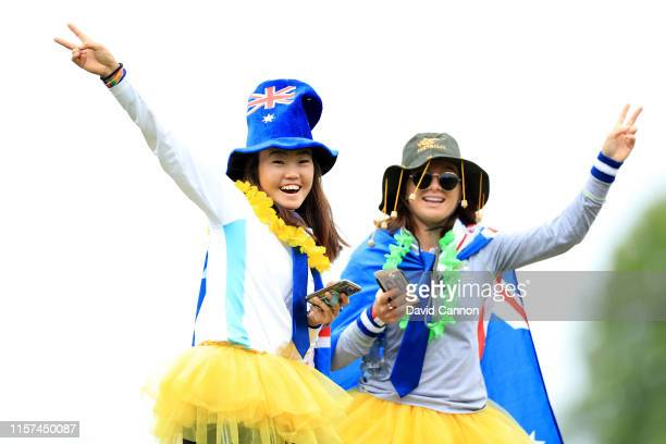 Two brightly dressed Australian fans watching the Australian players during the second round of the 2019 KPMG Women's PGA Championship at Hazeltine...