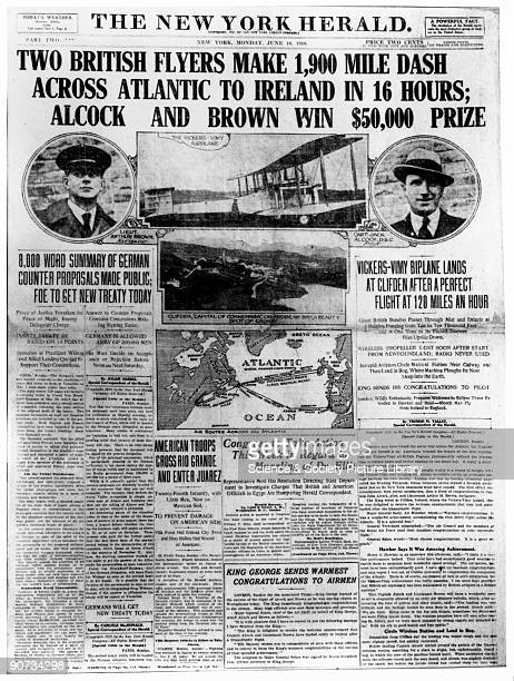 'Two British flyers make 1900 mile dash across Atlantic to Ireland in 16 hours Alcock and Brown win 50000 dollar prize' Sir John Alcock and Sir...