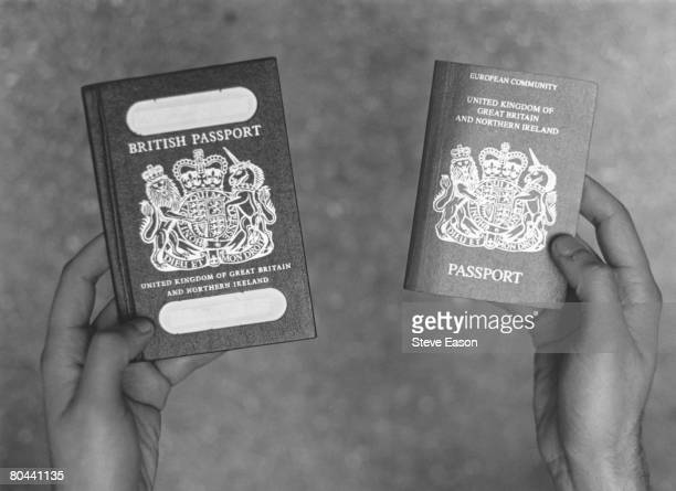 Two British passports circa 1994 On the right is the European Community British passport currently issued on the left the older version no longer...