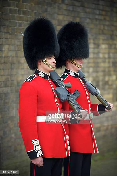 Two British Royal Foot Guards Red Jacket Busby London