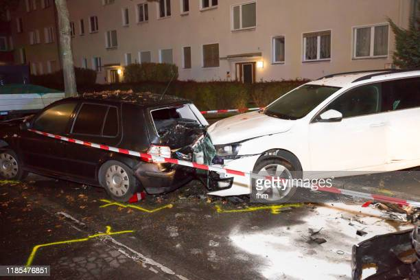 two broken cars after traffic accident - horrible car accidents stock pictures, royalty-free photos & images