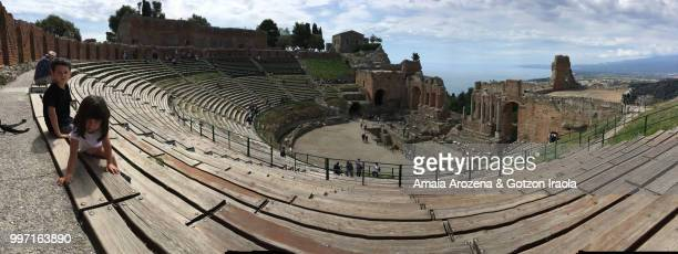 Two brothers in the Greek theater of Taormina