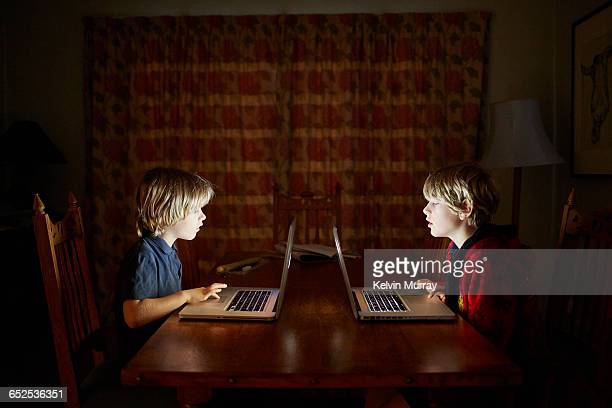 Two brothers work on laptop computers at home