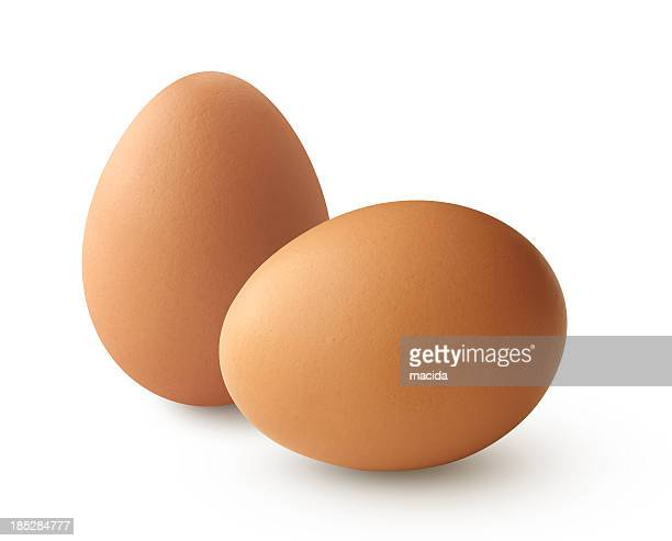 two brown eggs - oval shaped objects stock pictures, royalty-free photos & images