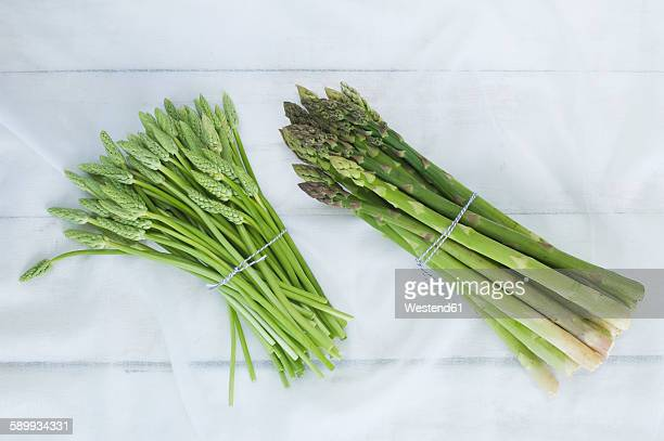 Two bunches of green and wild asparagus on white cloth