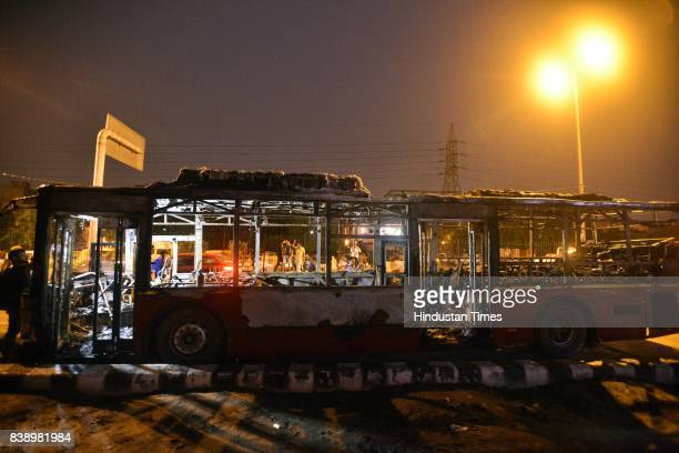 Two Buses brunt at Gokulpuri meetnagar north east delhi on August 25 2017 in New Delhi India Gurmeet Ram Rahim the selfstyled godman who has a huge...