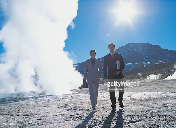 Two Business Colleagues Walking Through a Hot Spring