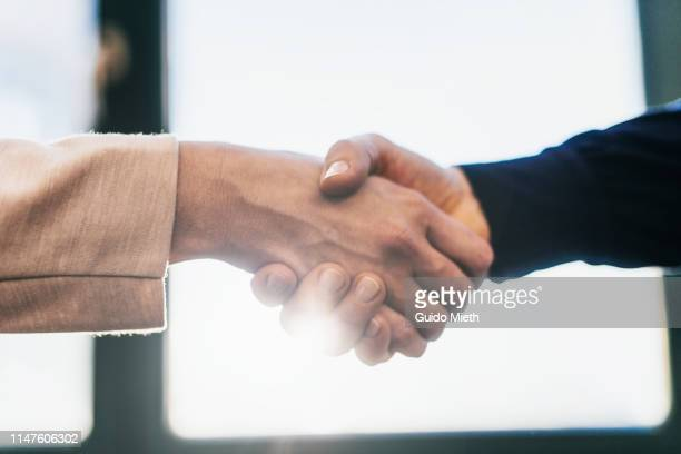 two business women shaking hands in office. - handschlag stock-fotos und bilder
