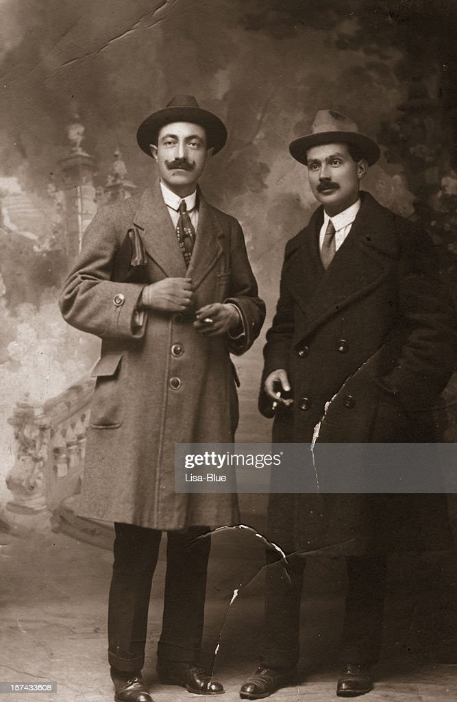 Two Businessmen in 1917.Sepia Toned. : Stock Photo