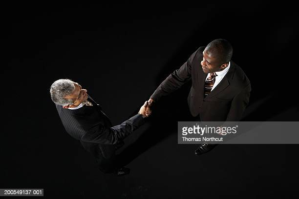 Two businessmen shaking hands, elevated view