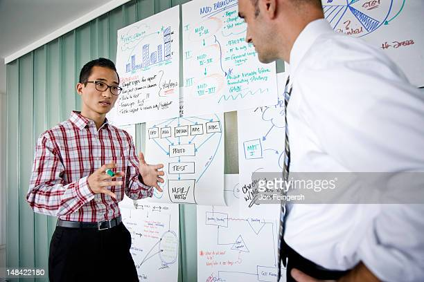 Two businessmen talking in front of charts