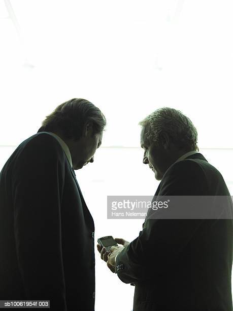 Two businessmen using palmtop, side view