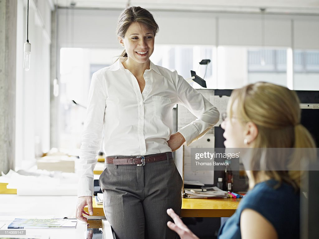 Two businesswomen in discussion in workstation : Stock Photo