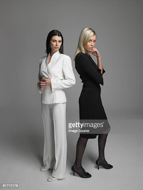 two businesswomen - grey dress stock pictures, royalty-free photos & images