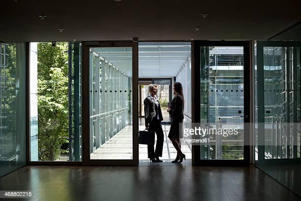 Two businesswomen talking in office building