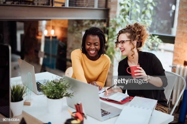 two businesswomen working on computer in office - young adult stock pictures, royalty-free photos & images