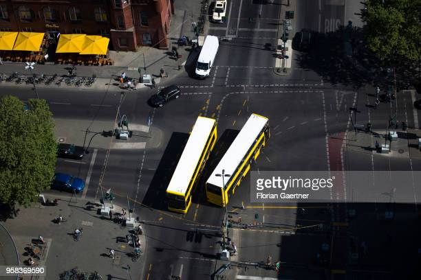 Two busses are pictured on a crossroads with on May 09 2018 in Berlin Germany