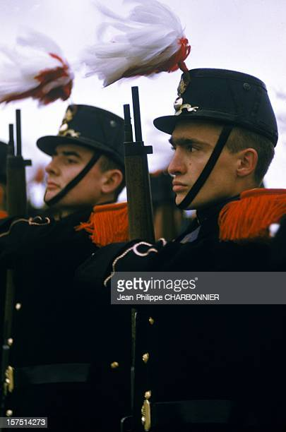 Two cadets during ceremony in the courtyard of French military school of SaintCyr circa 1970 in SaintCyr France