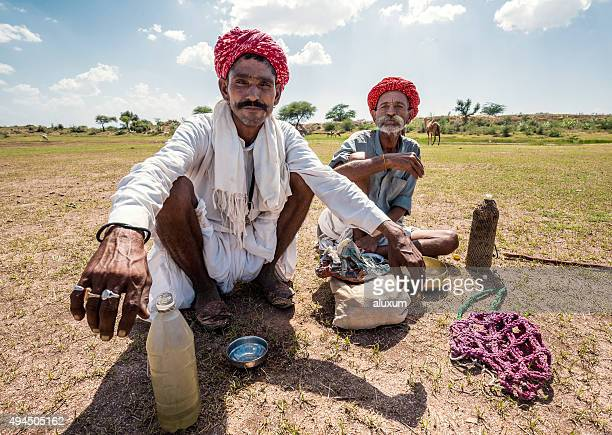 Two camel shepherds in the Thar desert Rajasthan India