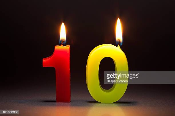 Two Candles In The Shape Of The Number 10