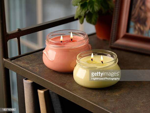 two candles - candlelight stock pictures, royalty-free photos & images