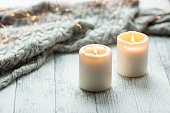 Two Candles Sweater Wooden Table Lights Garland